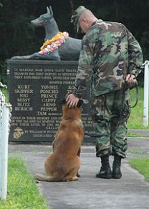 us_navy_061027-n-9662l-048_petty_officer_2nd_class_blake_soller_a_military_working_dog_mwd_handler_pets_the_head_of_his_mwd_rico_at_the_war_dog_cemetery_located_on_naval_base_guam